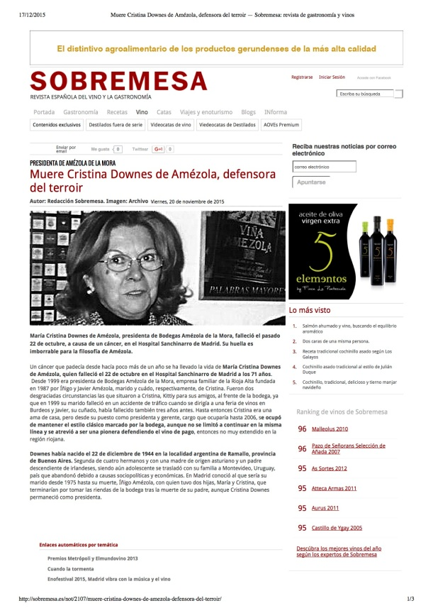 Muere Cristina Downes de Amézola, defen...remesa- revista de gastronomía y vinos